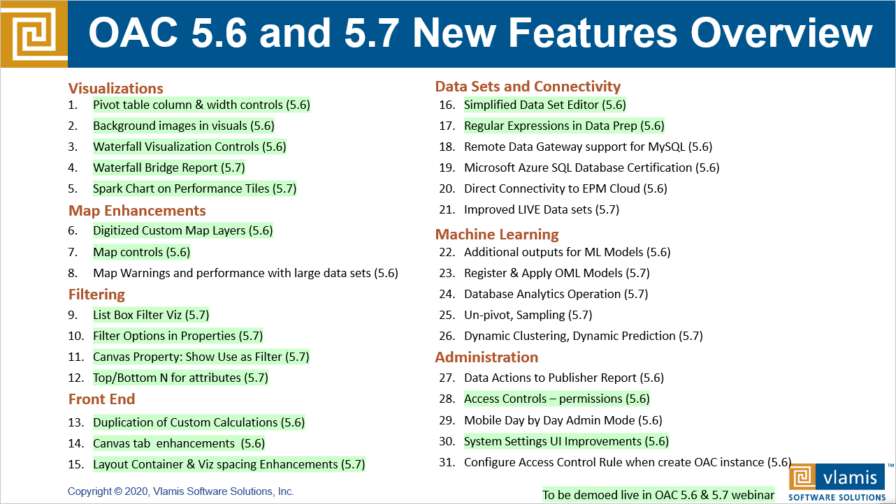 Webinar on What's New in Oracle Analytics 5.6 and 5.7 with Live Demo on August 5
